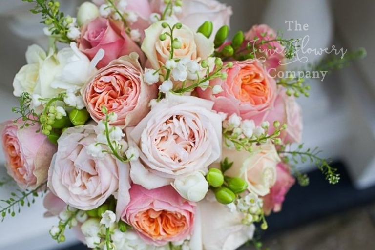 nudes, champagne, blush pink and pale peach bridal bouquet with OHara roses, Vuvuzuella roses, freesias and lily of the valley