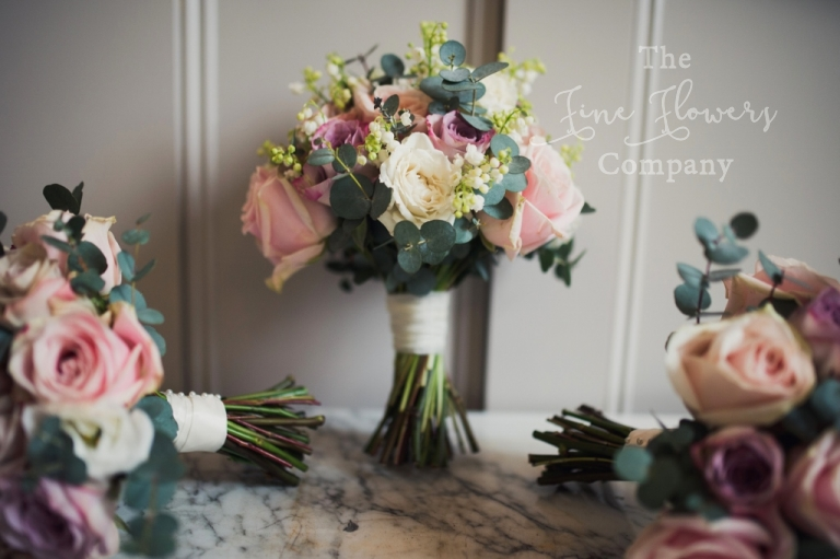 vintage pink lilac and ivory bridal and bridesmaids bouquets from wedding at Pembroke Lodge