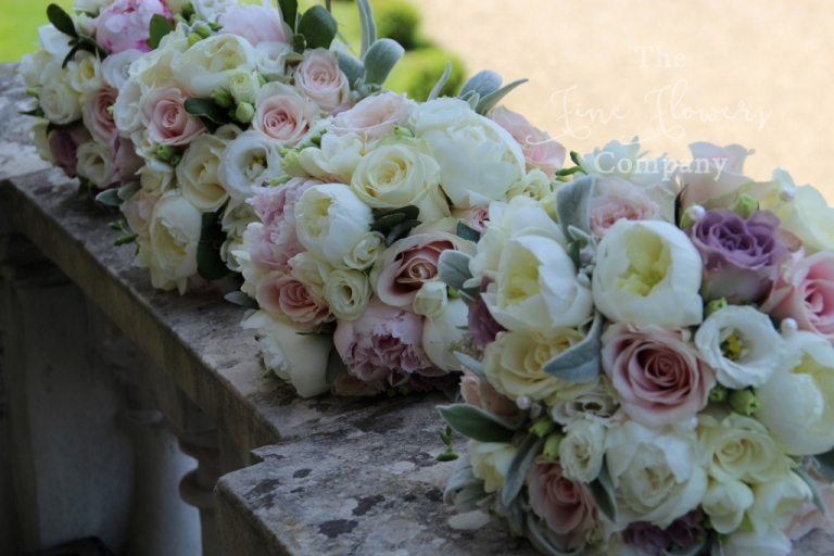 surrey wedding florist, Botleys wedding florist, Surrey bride, vintage pink paeonies and roses bridal bouquets