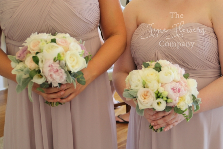 vintage ivory and blush and silver bridesmaids bouquets with nude pink bridesmaids dresses, from wedding at Botleys Mansion
