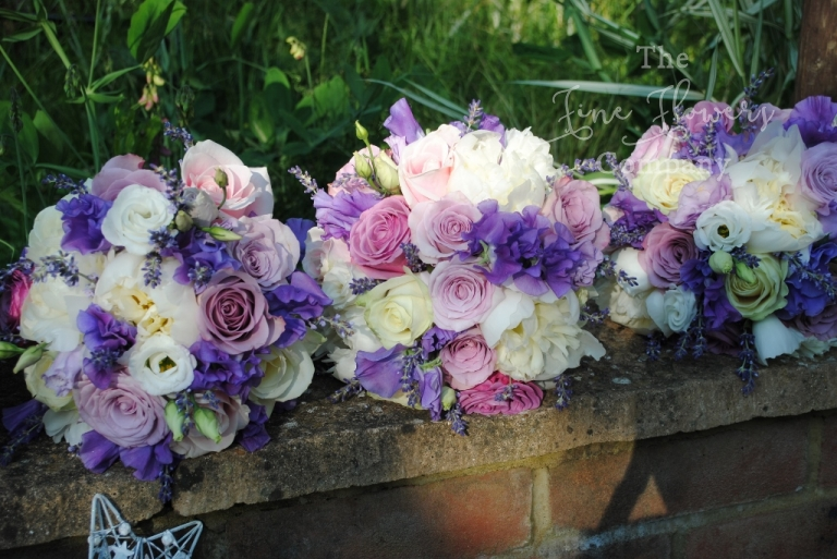 ivory, lilac, purple and dusky pink wedding flowers bouquets