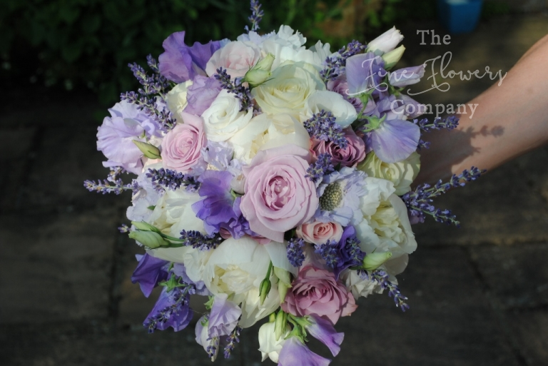 vintage roses, lavender and paeonies bridal bouquet from wedding ceremony at Botleys Mansion