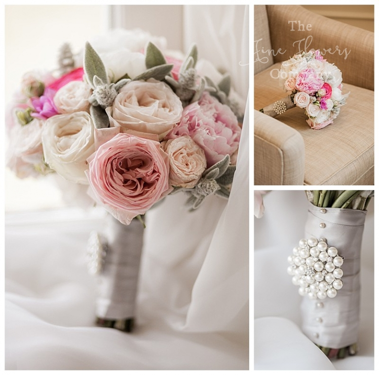 ivory and blush bridal bouquet of roses and peonies. bouquet broach.