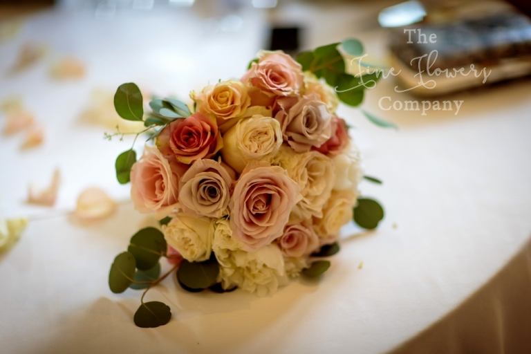 bridesmaids boquuet of ivory and nude and vintage pink roses, from Coworth Park wedding, Coworth Park wedding flowers photos