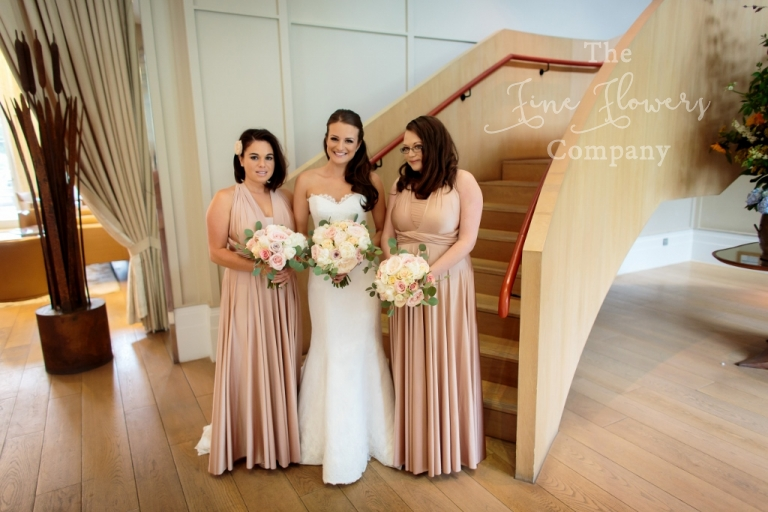 Coworth Park wedding - bridal and bridesmaids wearing nude pink.