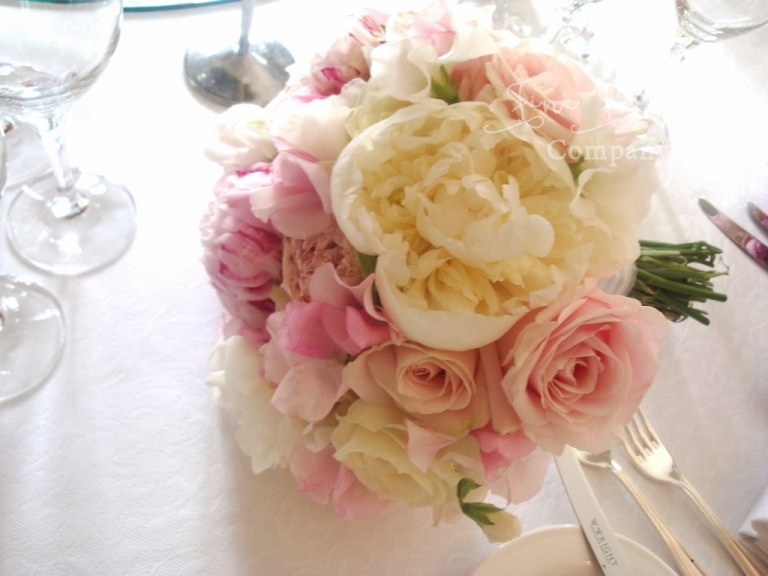 bridal handtied bouquet of blush pink roses, ivory paeonies and sweet peas, from wedding at Syon House and syon park
