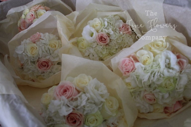 ivory and blush nude pink bridesmaids bouquets, surrey wedding florist, Surrey wedding flowers.