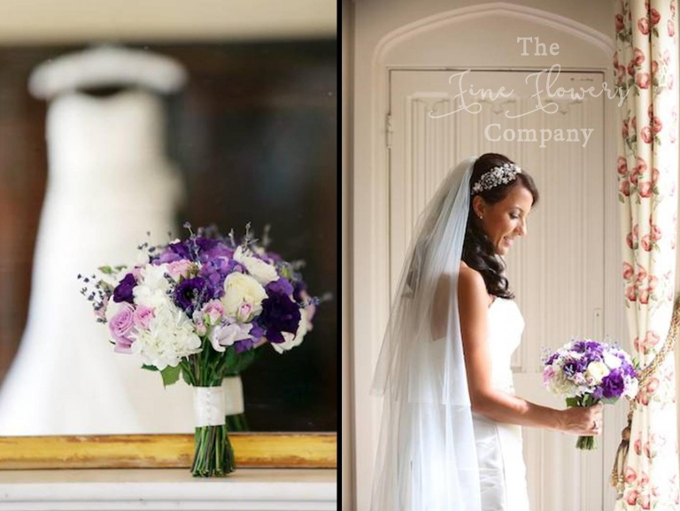 getting married at Highclere castle, wedding flowers at Highclere castle, Highclere Castle wedding florist, ivory and purple bridal bouquet, lavender bridal bouquet.
