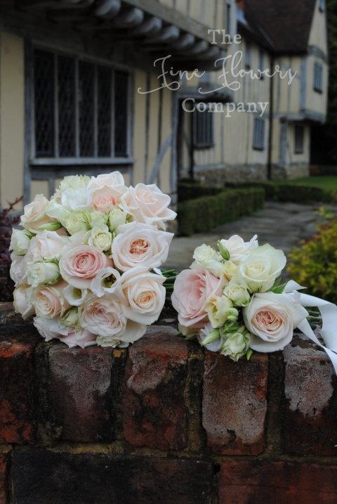 nude ivory cream and blush bridesmaids and flowers girls posies from vintag ewedding at Cain Manor