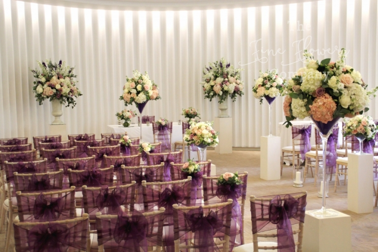 wedding florist at Coworth Park. Ceremony room wedding flowers at Coworth Park.