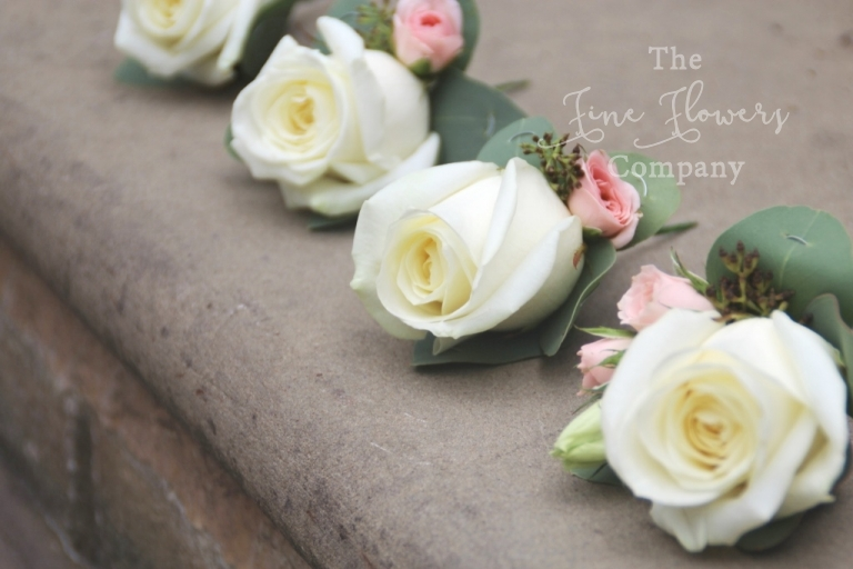ivory mens Avalanche rose buttonholes with blush spray roses