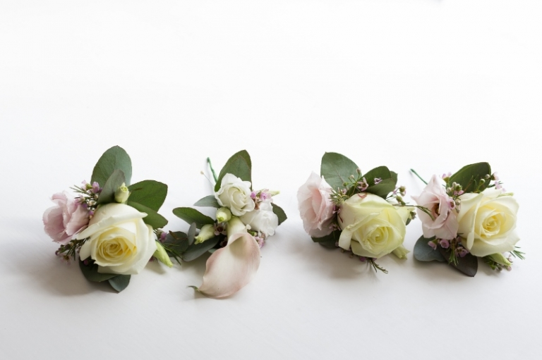 ivory and blush rose and calla lily buttonhole