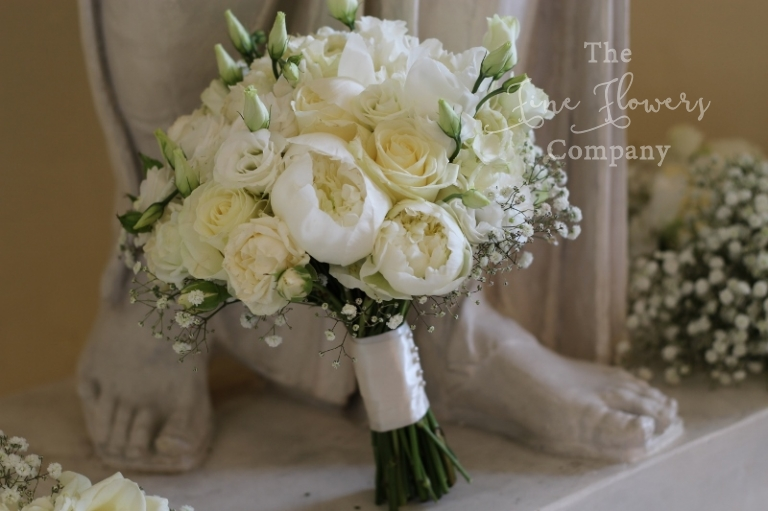 Bridal Bouquet Of Ivory Avalanche Roses Paeonies Lisianthus Gypsophila Flowers Surrey