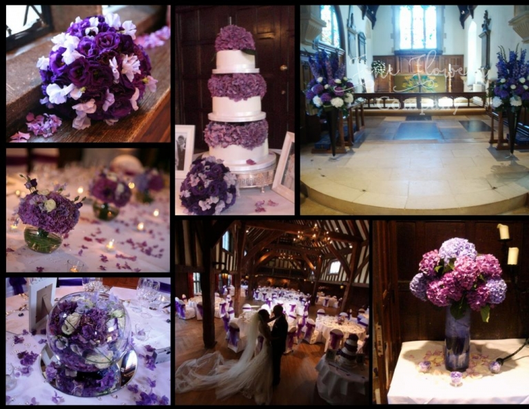 great fosters wedding flowers from Great Fosters recommended florist. Deep purple wedding flowers.