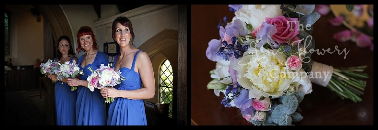 summer bridesmaids bouquets of ivory paeonies, ivory, pink and lilac memory lane roses, lilac sweet peas, Mimi Eden spray roses, lisianthus, from wedding at Lyne Church and reception at Botleys Mansion, summer 2015