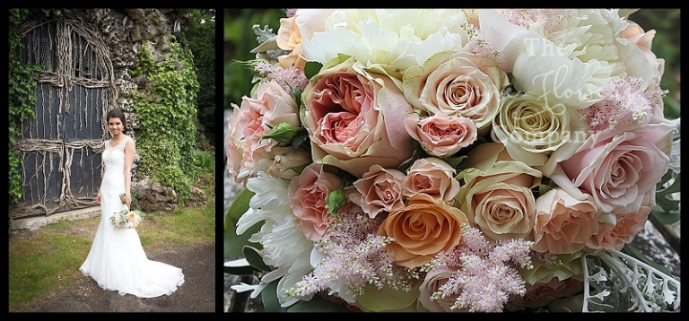vintage bridal bouquet of ivory, blush and pale peach roses, astilbe, spray roses, lisianthus and silvery senecio. From wedding at Hampton Court House Surrey