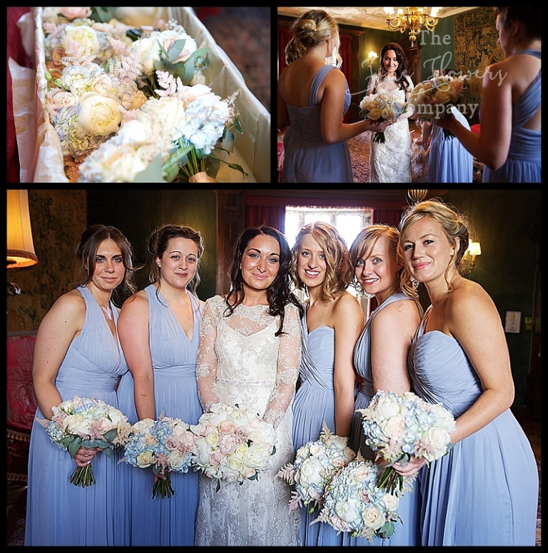 pale blue bridesmaids dresses, ivory blush nude pink wedding flowers. Great Fosters wedding surrey.