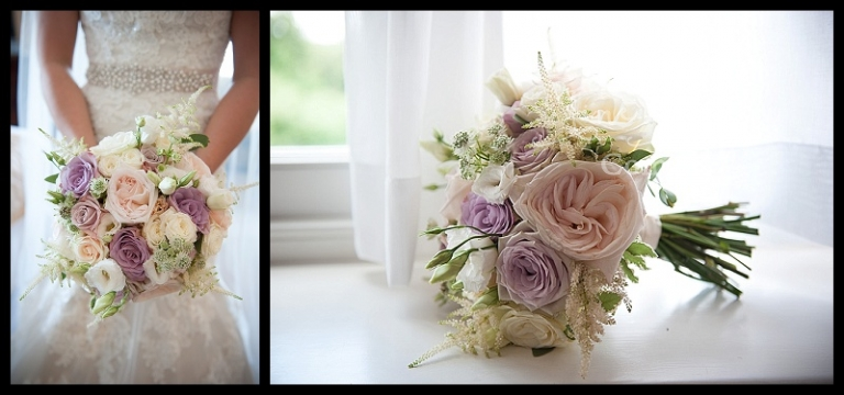 handtied bridal bouquet of ivory, cream, nude, lilac roses and astilbe. Wentworth wedding, wentworth bride. Wentworth wedding florist.