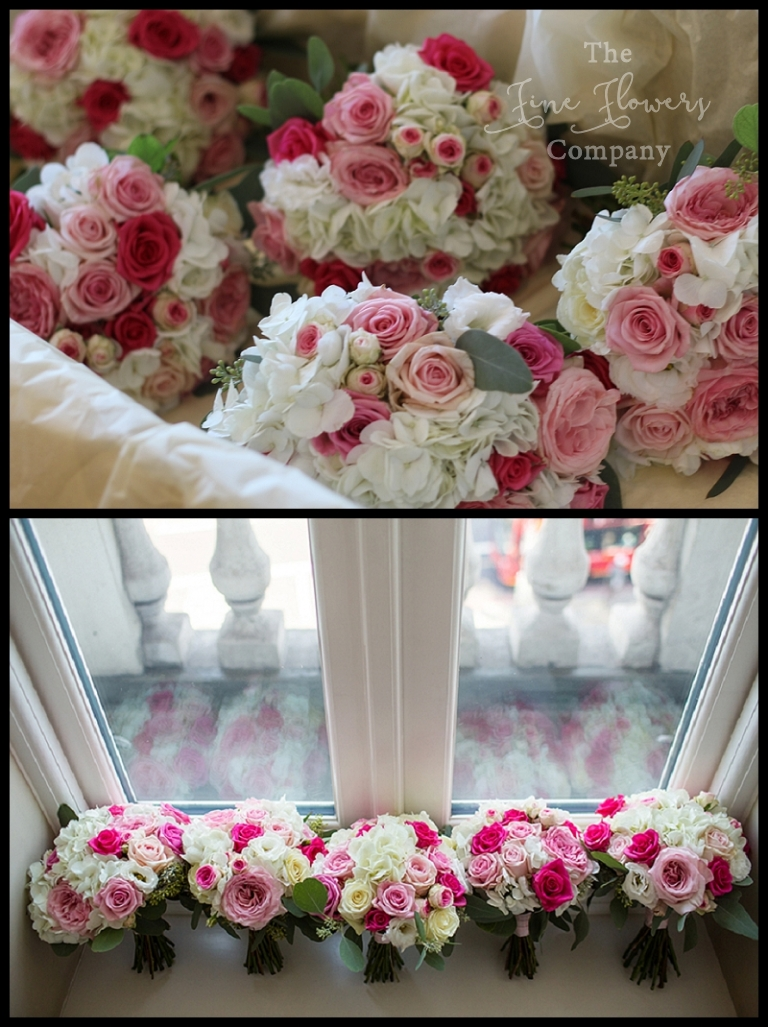 Ivory And Pink Bridal Bridesmaids Bouquets Of Roses Hydrangeas Eucalyptus