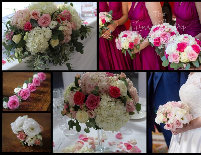ivoryand mix of pink,bright pink wedding flowers, Botleys Mansion wedding flowers, Botleys Mansion wedding florist, Chertsey wedding florist