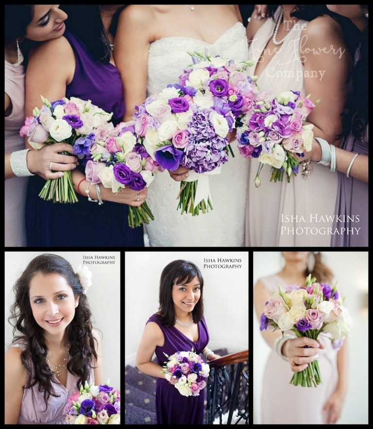 ivory, lilac, purple and dusky pink bridal and bridesmaids bouquets of Memory Lane, Pacific Blue, Coolwater, Safi roses, purple hydrangeas and purple lisianthus. From wentworth wedding