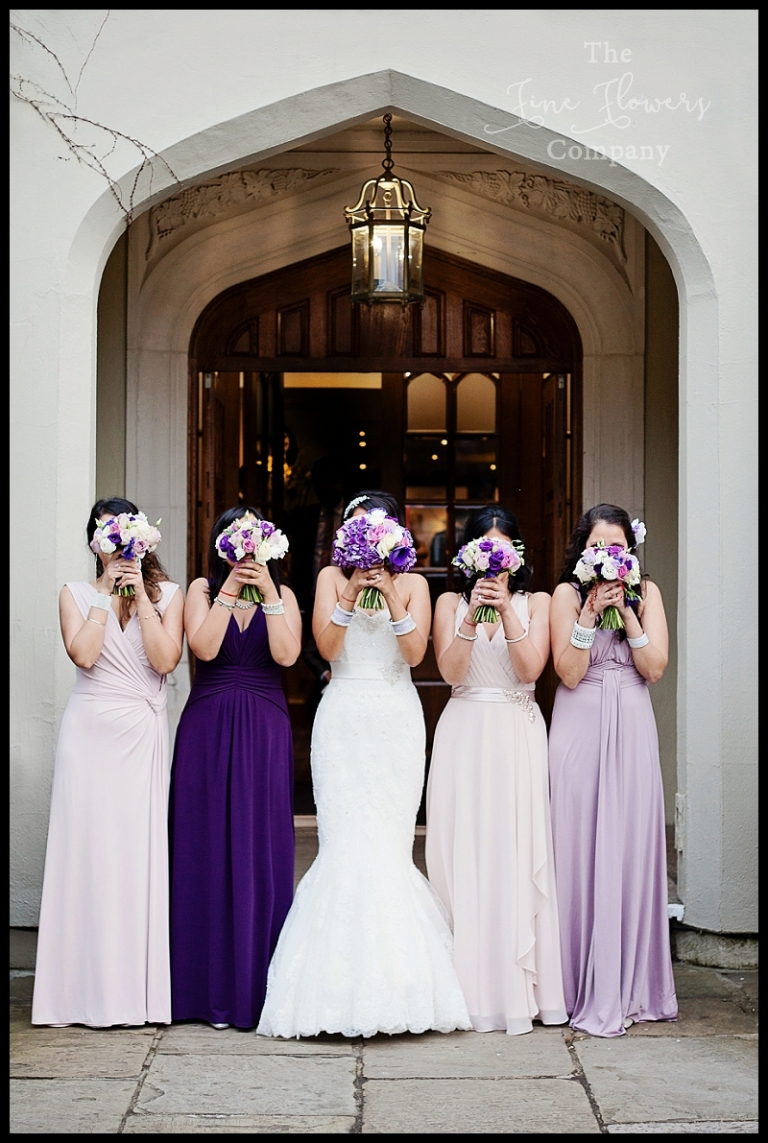 purple and lilac heather bridesmaids dress, bridesmaids bouquets of roses, purple hydrangeas and purple lisianthus. From enchanted wedding at Wenywprth.