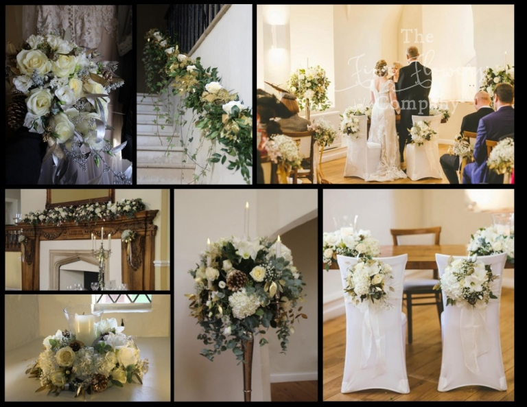 ivory & gold Farnham Castle wedding flowers, Farnham Castle winter wedding, Farnham Castle recommended florist, Franham Castle wedding photos, ivory and gold winter centrepieces, Farnham Castle wedding