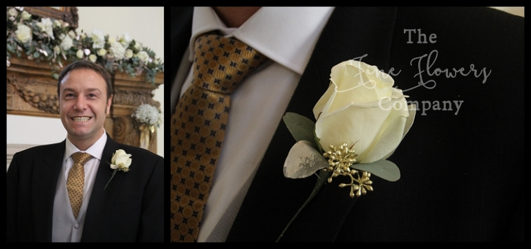 ivory avalanche rose buttonhole with gold eucalyptus berries
