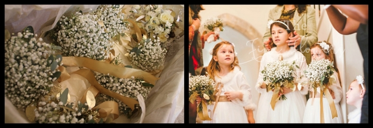 gypsophila flower girls posies with gold eucalyptus and gold ribbons.
