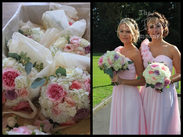 pale pink bridesmaids dresses, with bridesmaids bouquets of hydrangeas, pink david austin roses. ivory and blush bridesmaids bouquets, surrey wedding flowers.