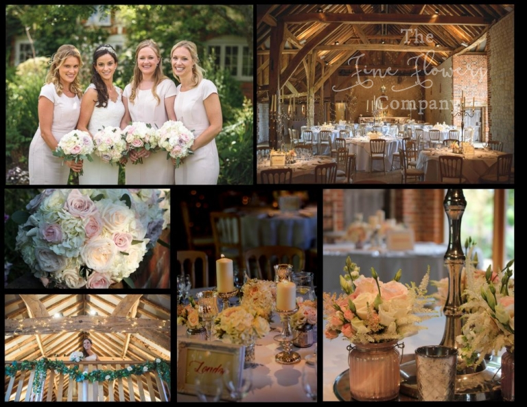 vintage barn wedding flowers, ivory blush wedding flowers, silver candelabras, silver vases and candlesticks.