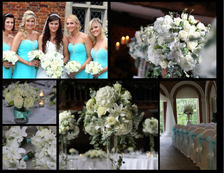 white and turquoise wedding flowers, aqua, ice blue wedding, tifanny blue wedding.