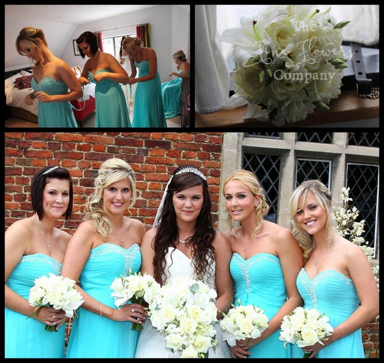 turquoise aqua tiffany blue bridesmaids biuquets dresses