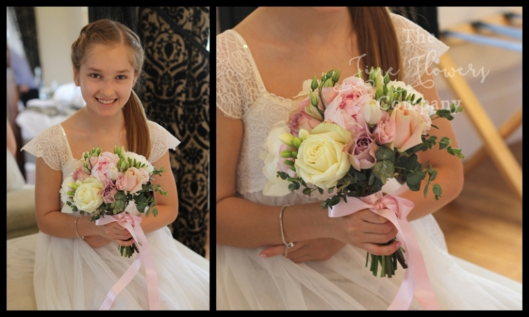 young bridesmaids posy, flower girls posy of roses, paeonies and freesia.