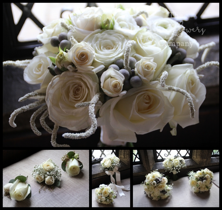 wintry winter white boquuets with silvery amaranthus and spray roses, ranunculus and brunnia berries.