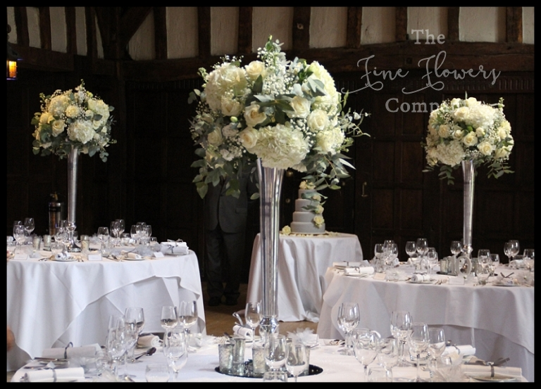 Silver White Winter Wedding Flowers At Great Fosters
