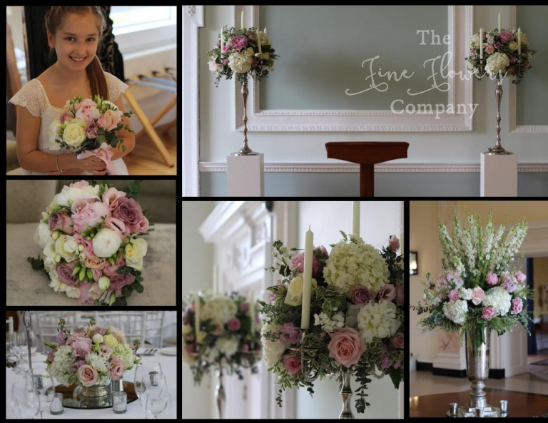 vintage pink and ivory wedding flowers at Botleys Mansion.