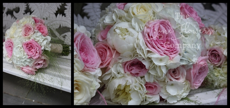 bridal boquuet of ivory hydrangea, pink Ohara garden roses, Sweet Avalanche roses and panic grass. Berkshire wedding florist, Berkshire bridal bouquet.