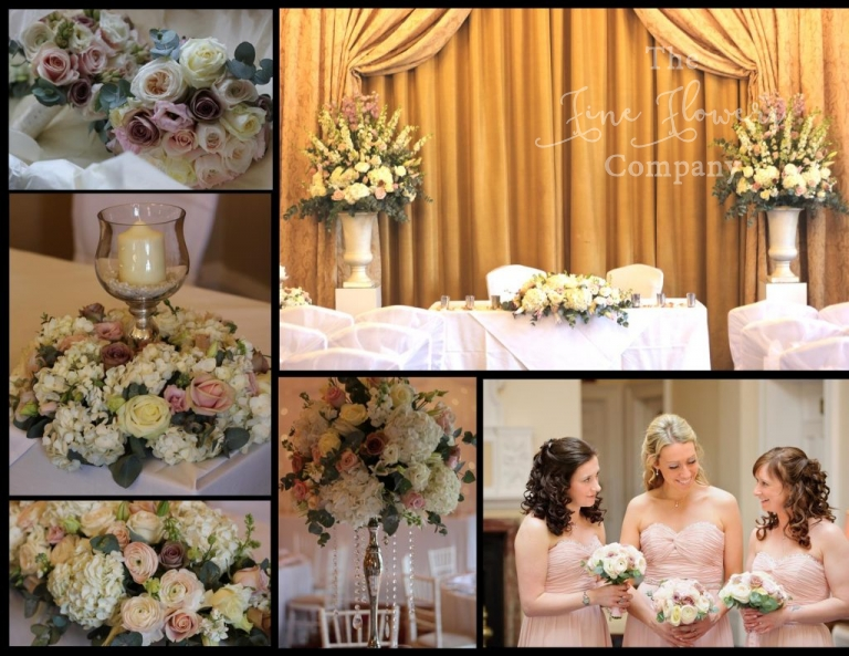 vintage wedding flowers at Down Hall in Essex. Blush pink, vinatge pink, amnesia roses, crystal candelabra