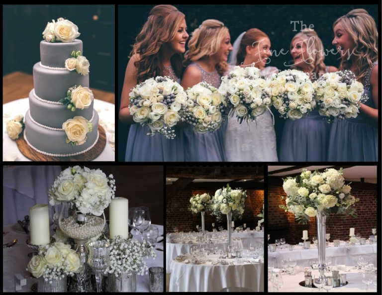 wintry silver grey and white wedding flowers at great fosters in surrey.