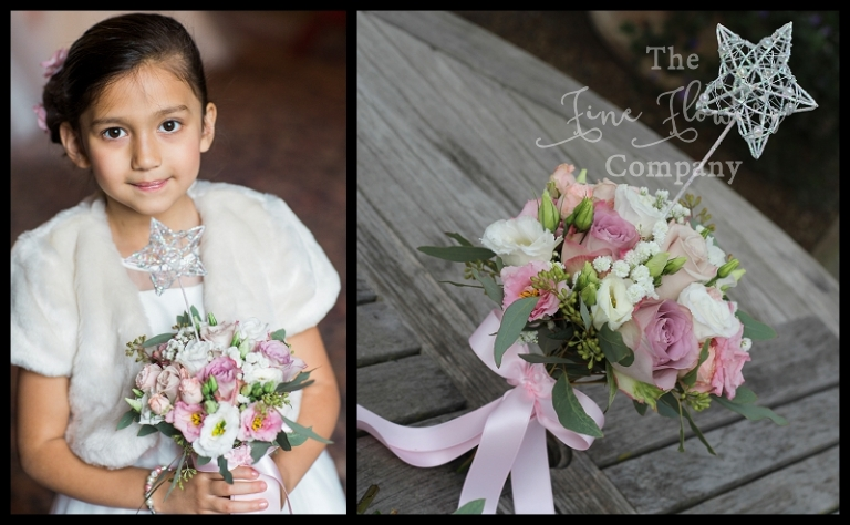 flower girls posy ivory lilac and dusty dusky pinks, bridal flowers surrey