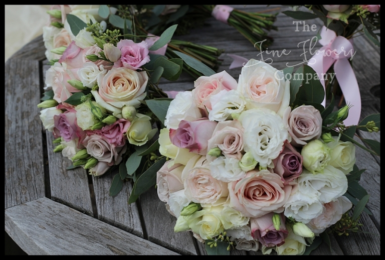 handtied bridal bridesmaids bouquets of ivory, blush, dusty dusky vintage pink and lilac
