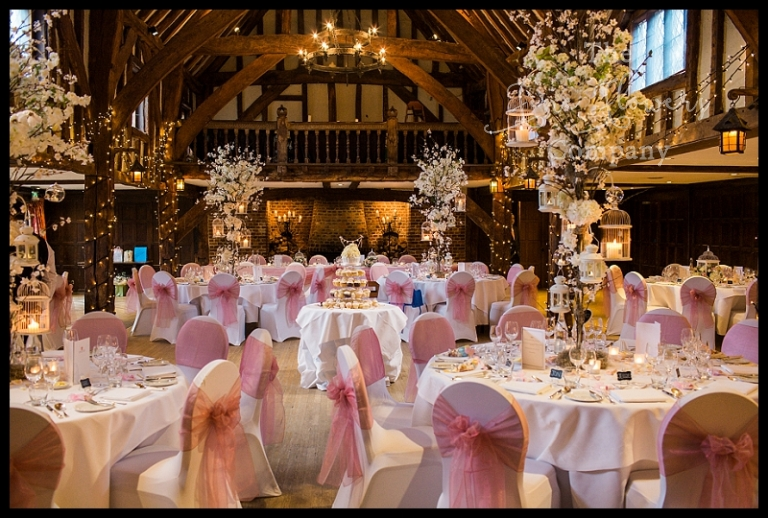 Surrey Barn Wedding Flowers Rustic Centrepiecs Tall Blossom Flower Trees Centrepieces