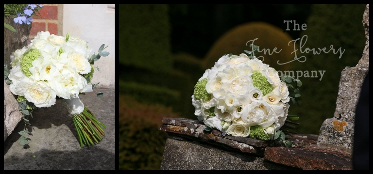 bridal bouquet of ivory Avalanche roses, white ivory paeonies, scented freesia, apple green lime green vibernum oppulus, bridal flowers surrey, surrey bridal bouquet.