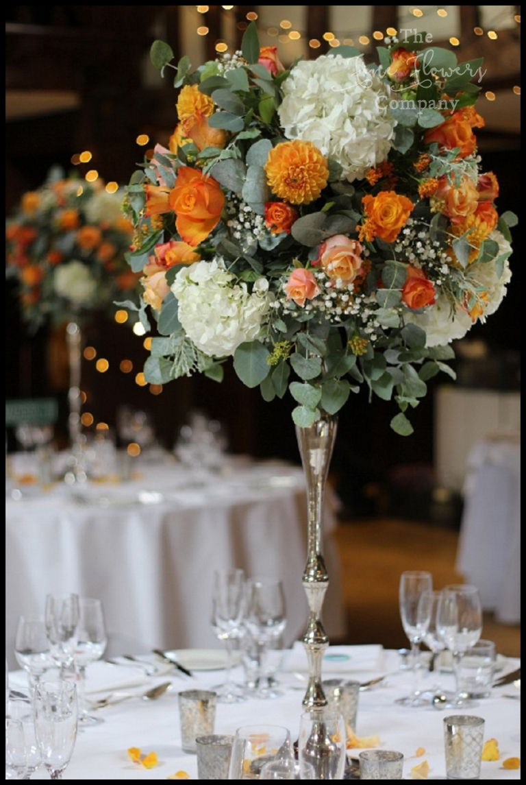 Orange Silver Amp Sage Wedding Flowers At Great Fosters The Fine Flower Company
