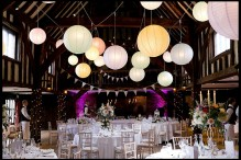 great fosters tithe barn lighting lanterns coloured balloons