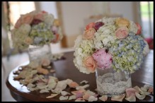 pastels blush blue cream and pink ceremony table wedding flowers