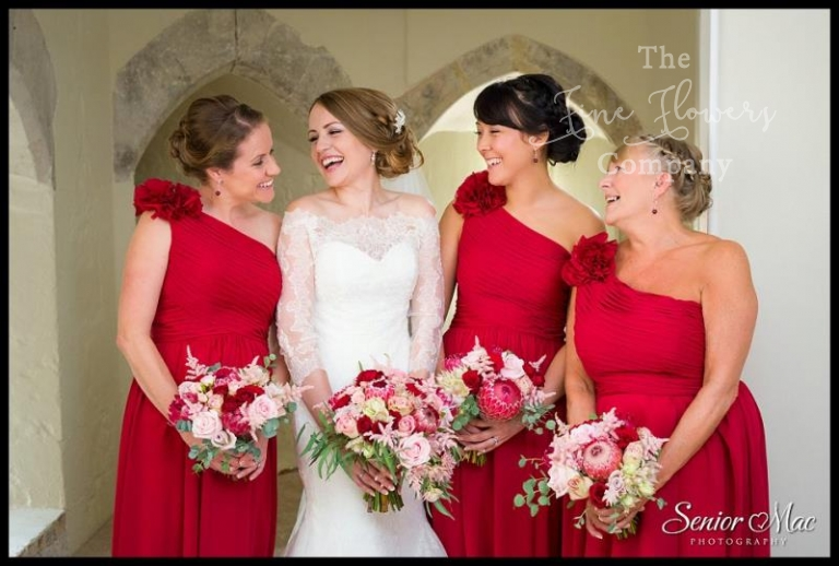 0c77a2bbd6c burgundy red wedding flowers raspberry red bridesmaids dresses with blush  and pinky red roses