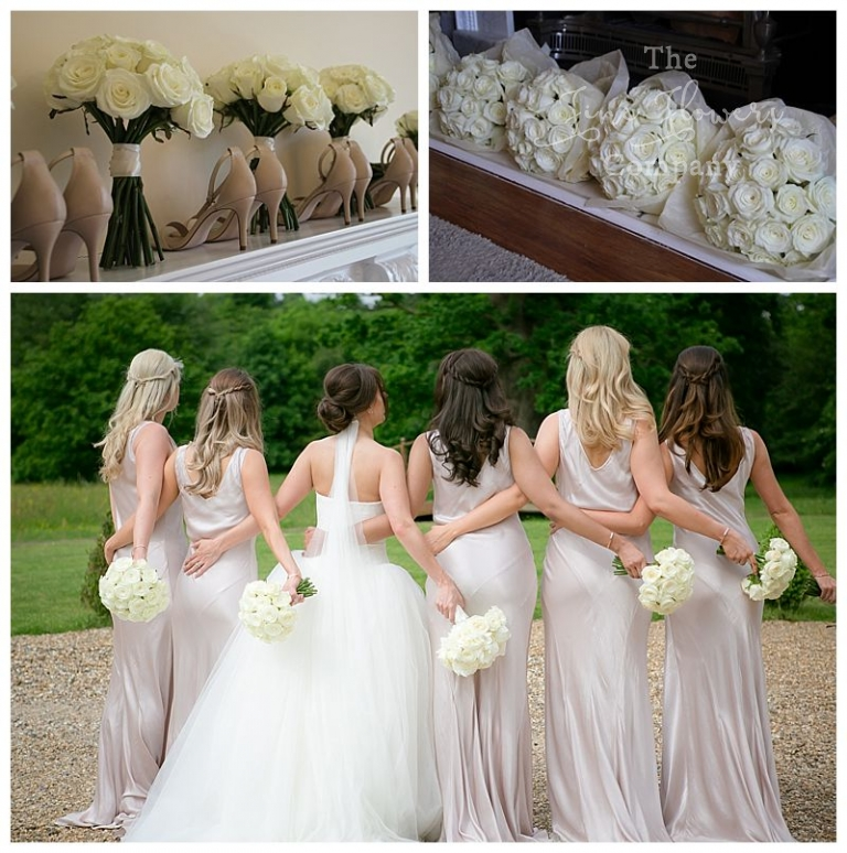 Pure white wedding flowers the fine flower company white bridesmaids posies bouquets of pure white ivory roses neat bouquets of white roses mightylinksfo