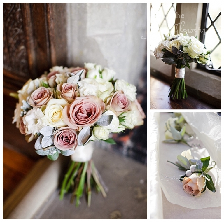 winter wedding bridal and bridesmaids bouquets from winter wonderland wedding at Great Fosters